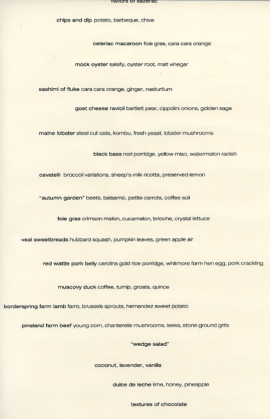 Table 21 Menu for 10-21-2011